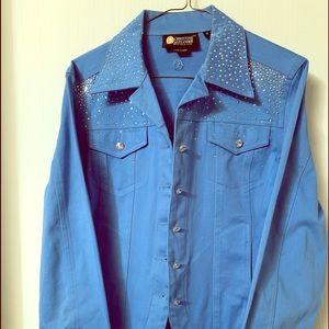 CHRISTINE ALEXANDER-Blue studded jacket - M $20